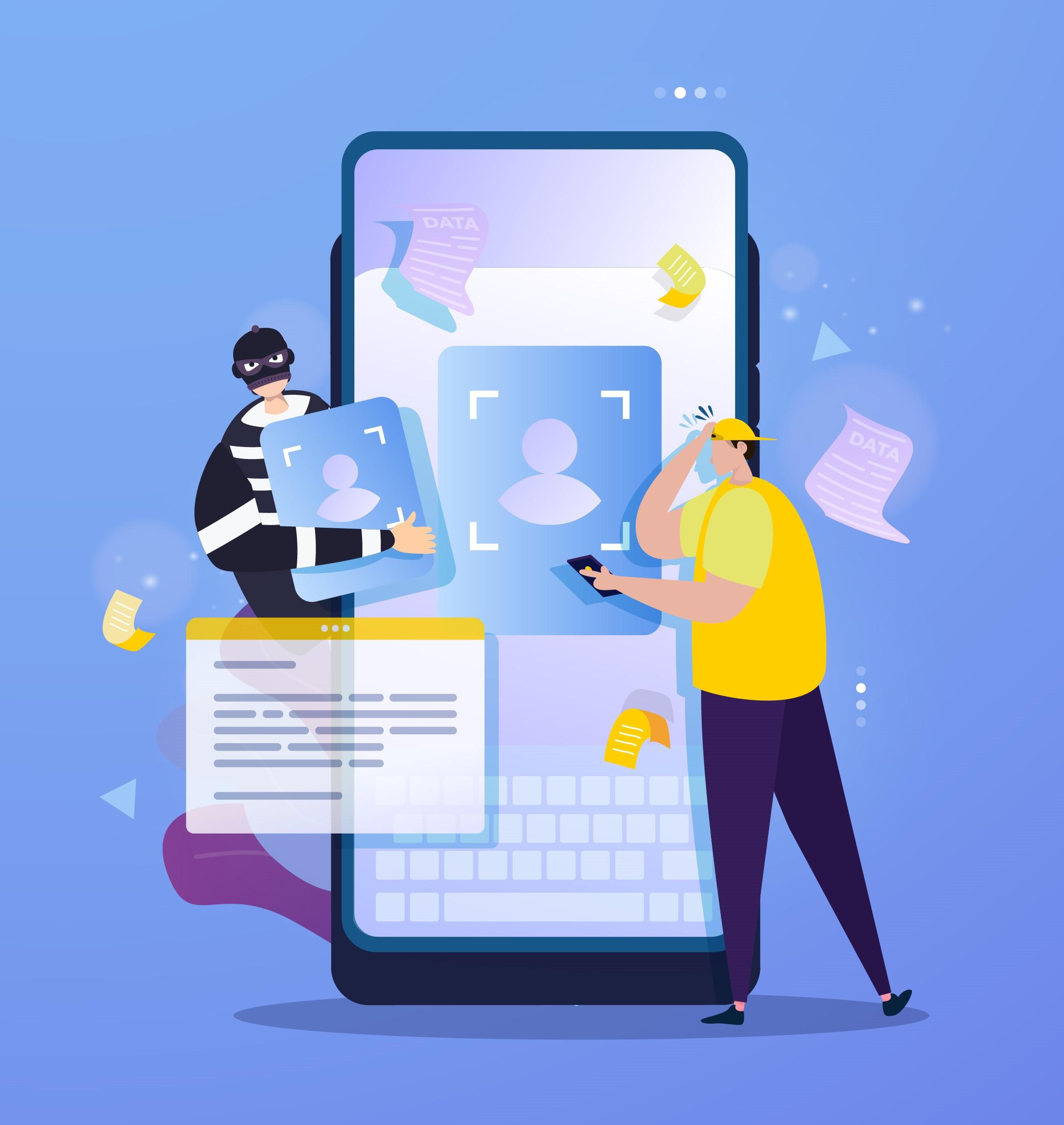 Cyber crimminal stealing biometrics