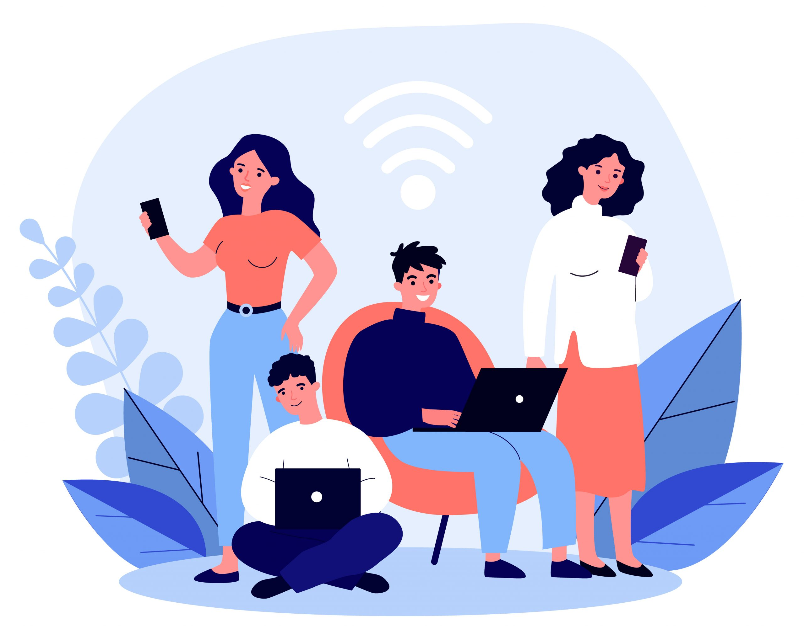 Young people browsing online via laptop and smartphone, users staying digitally secure while using Wi-Fi hotspots