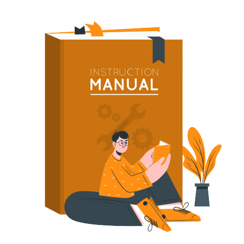 Instruction manual with man sitting and reading a user manual