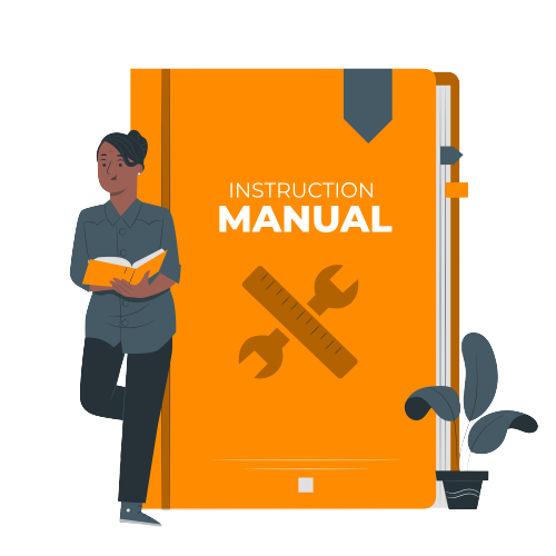 Instruction manual with woman stanging beside a book reading the user manual