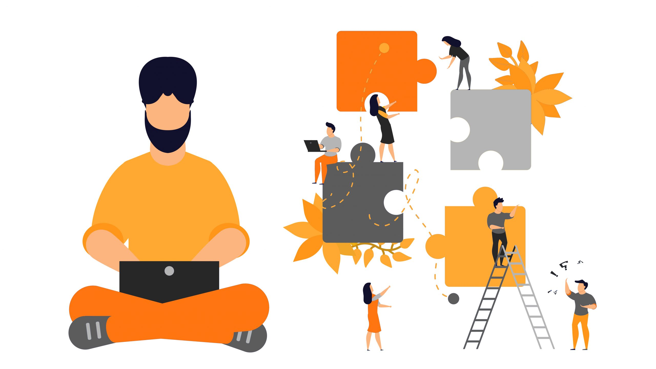 Partnership puzzle vector person business illustration teamwork concept. Piece team cooperation connect jigsaw solution together. Success collaboration strategy work challenge. Office brainstorming