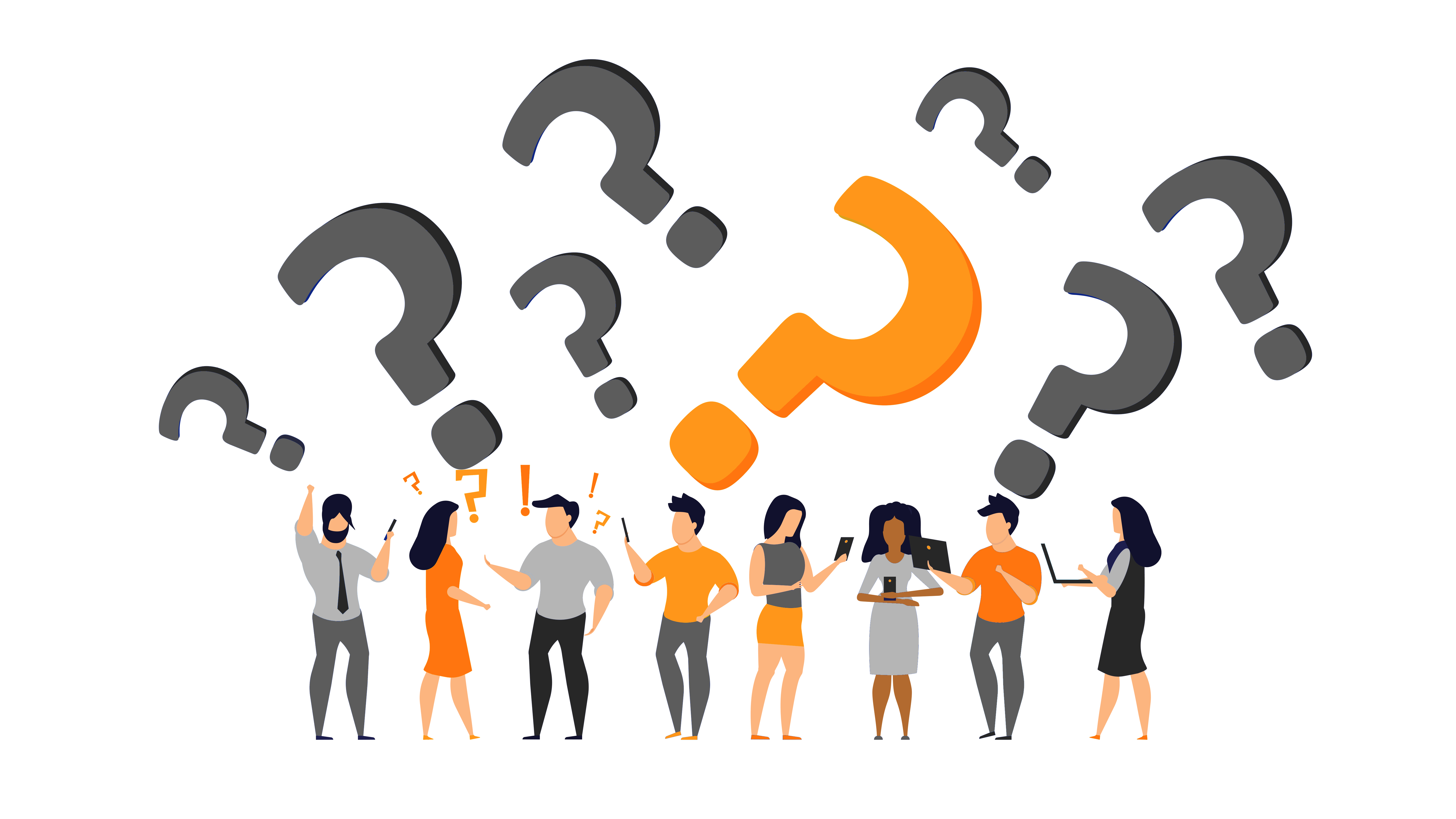 multiple grey and orange questionmarks with confused people underneath
