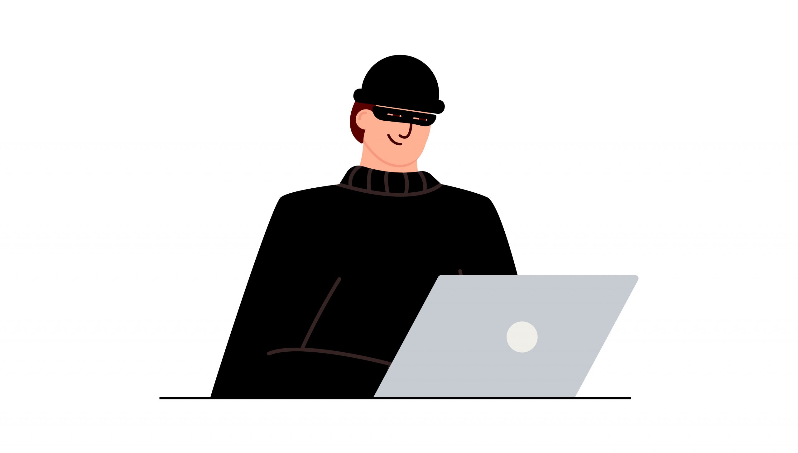 Hacker attack. Fraud with user data on social networks. Internet phishing, hacked password. Cybercrime and crime. A thief on a website online on the internet. The criminal behind a laptop, computer